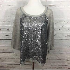 Anthropologie Silence+Noice Gray/Sequin Sweatshirt